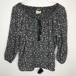 "DENIM & SUPPLY ""RL Boho"" Floral Peasant Blouse 
